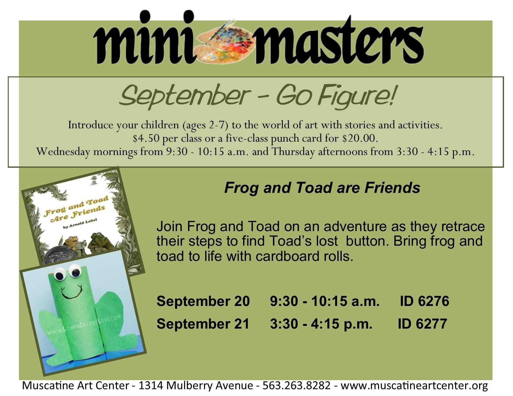 Sept 20-21 - Mini Masters - Frog and Toad are Friends