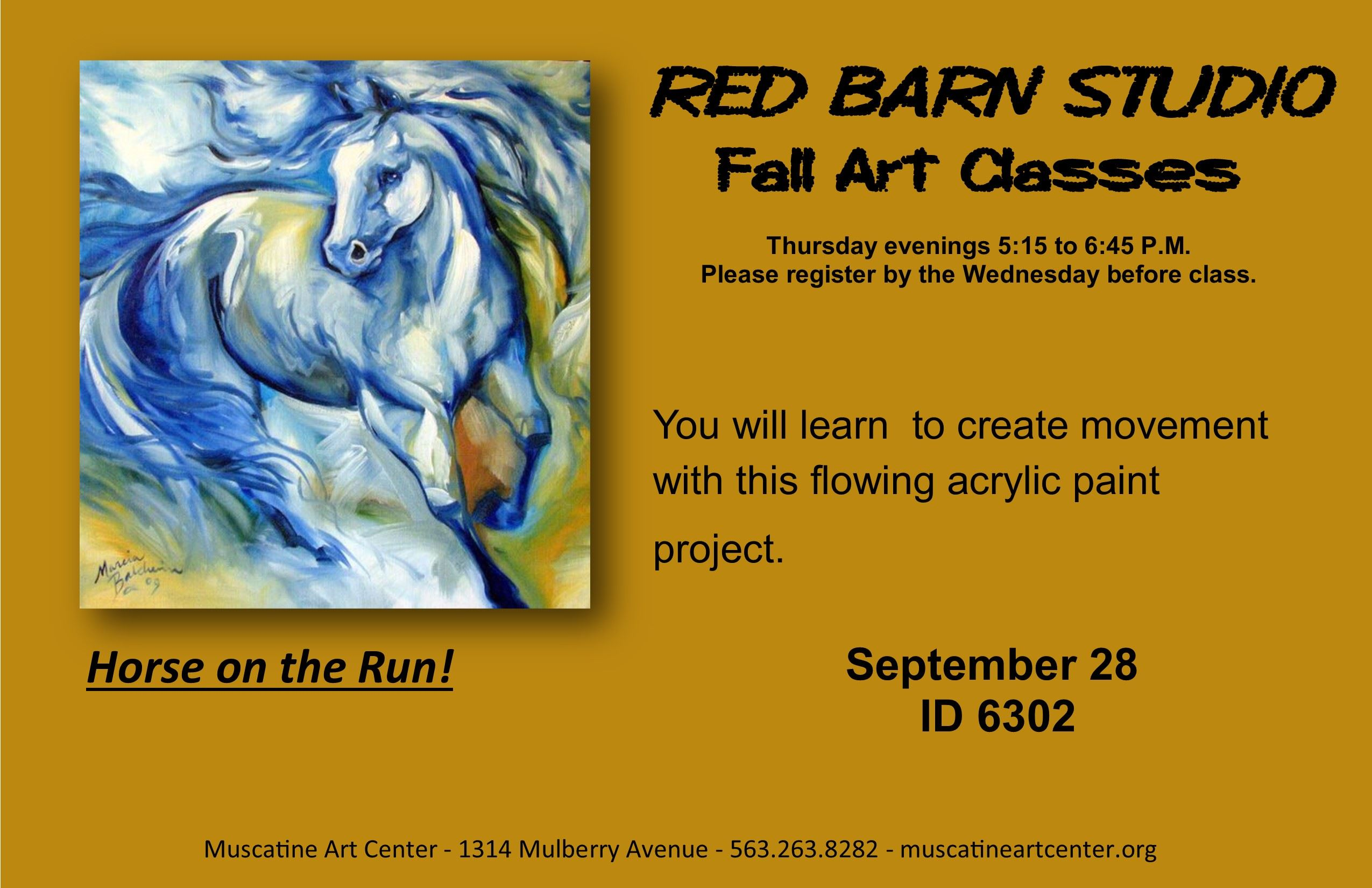 September 28 - Horse on the Run - Red Barn Studio ID 6302