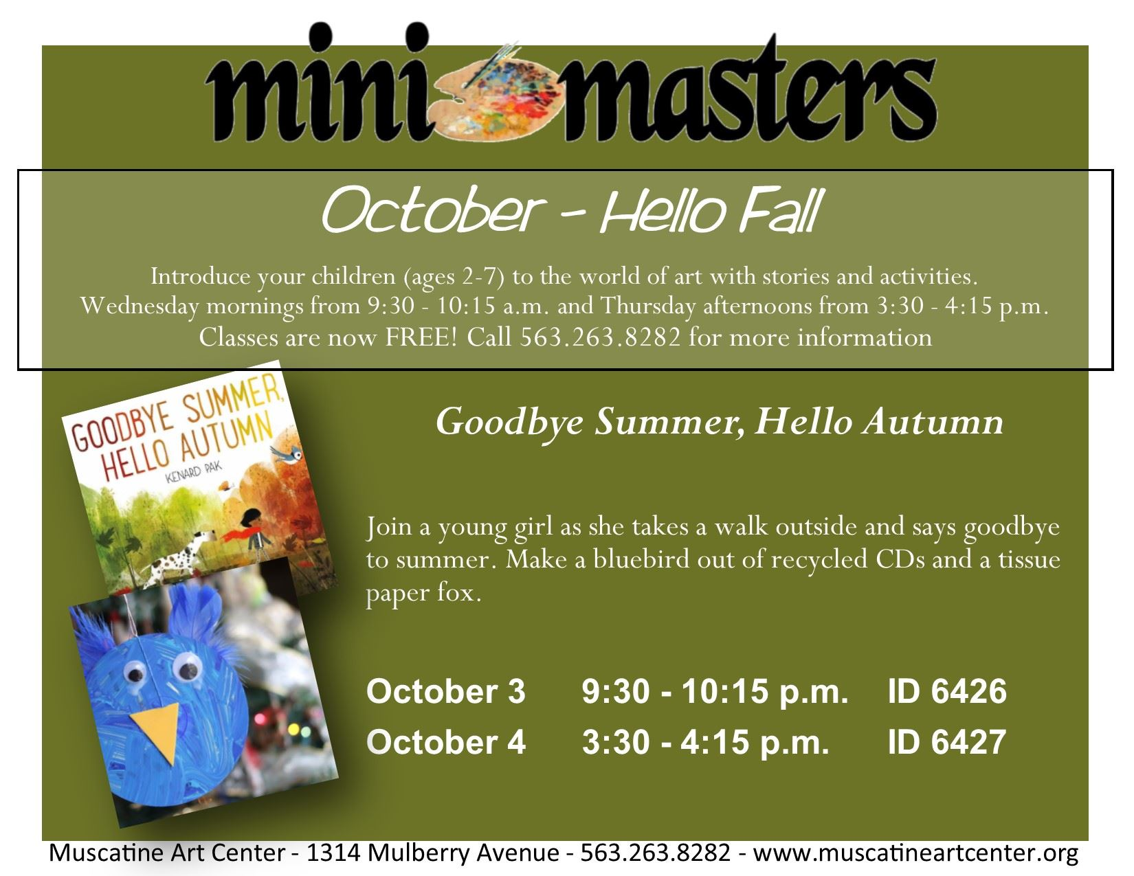 October 3-4 - mini masters - Goodbye Summer Hello Autumn