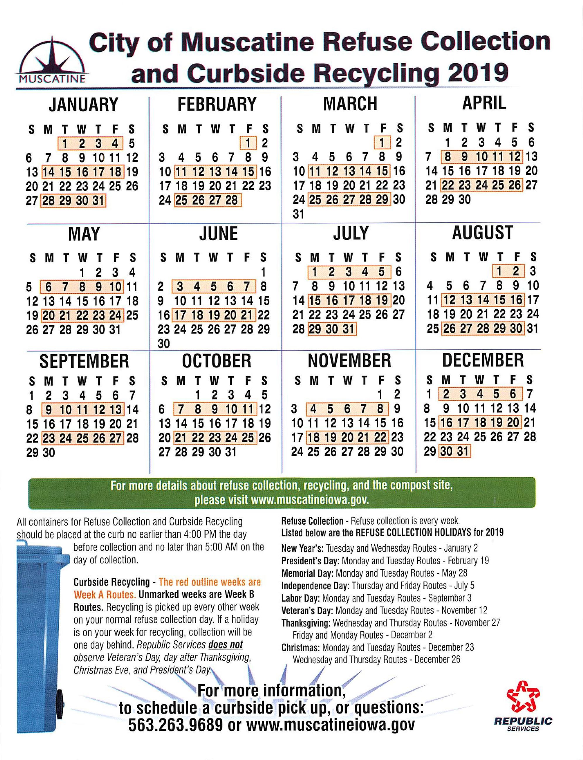 Refuse Collection 2019 Calendar