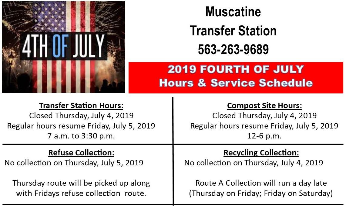 Independence Day Schedule Refuse and Recycling Schedule 2019 (JPG)