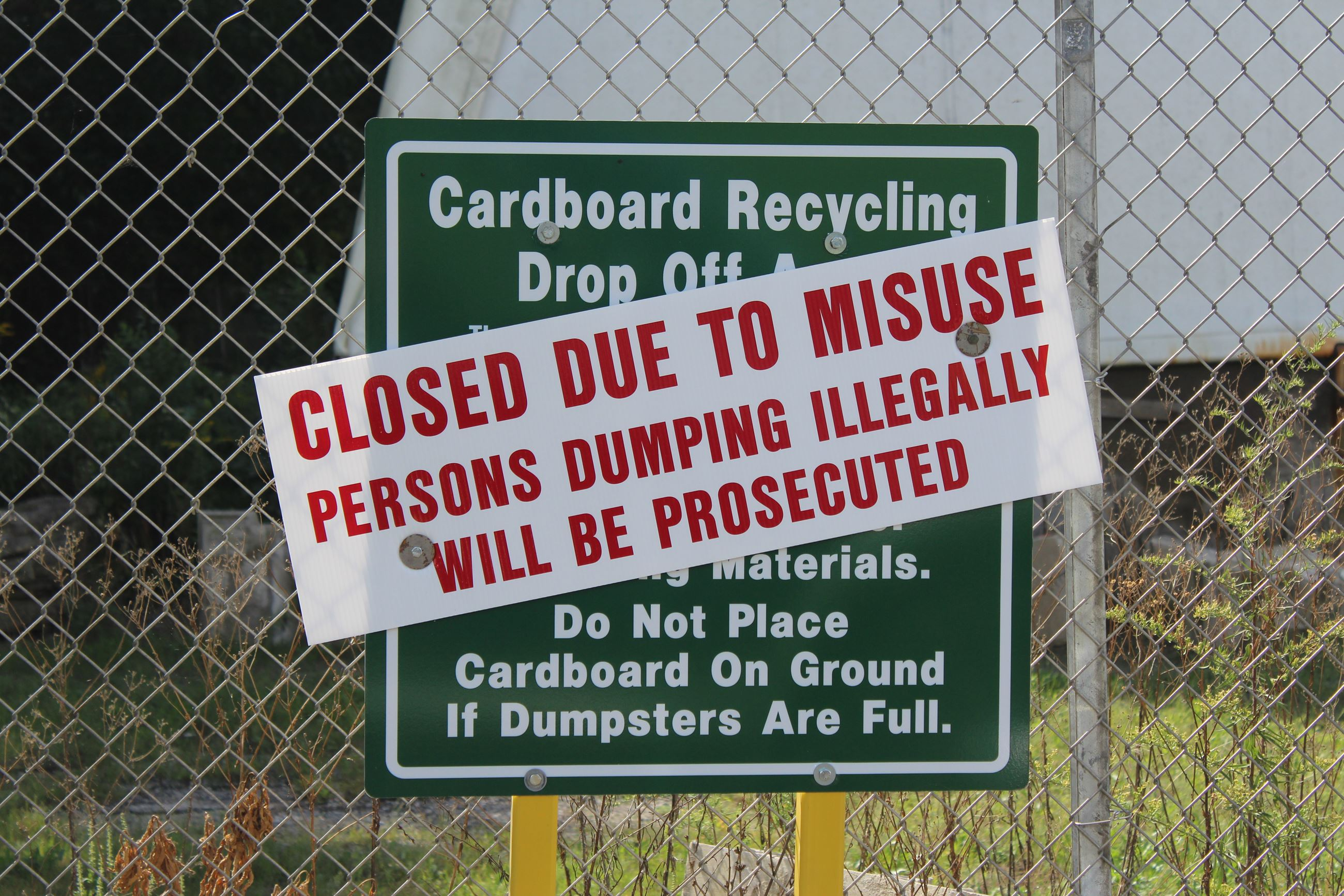 Cardboard recycling closed September 10, 2019 (JPG)