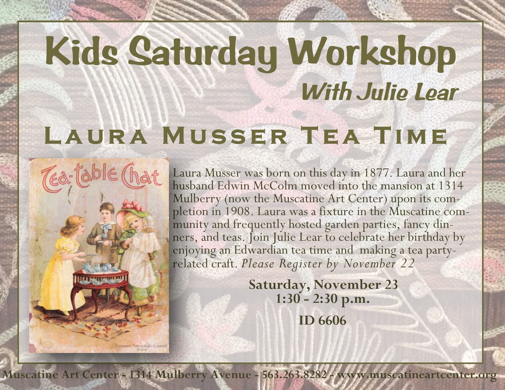November 23 -Laura Musser Tea Time - KSW